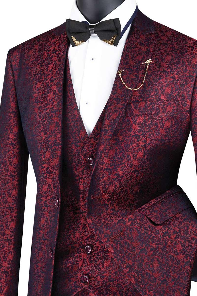 VINCI Men/'s Ruby Red Floral 3pc 1 Button Slim Fit Suit w// Matching Vest NEW
